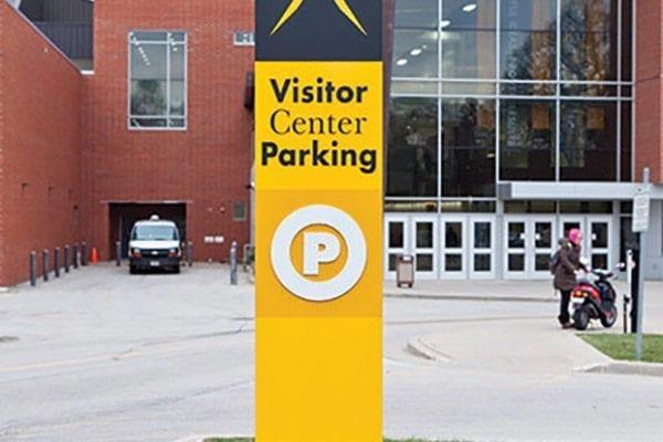 Exterior pylon sign for UWM in Milwaukee Wisconsin