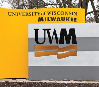Exterior lit monument sign for UWM in Milwaukee Wisconsin