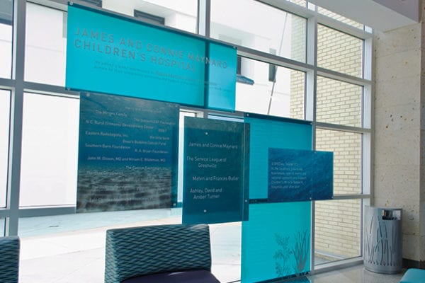 Interior donor recognition sign for Vidant in Greenville North Carolina
