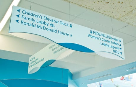Interior directional sign for Vidant in Greenville North Carolina