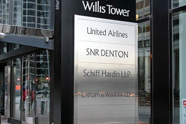 Exterior pylon sign for Willis Tower in Chicago Illinois
