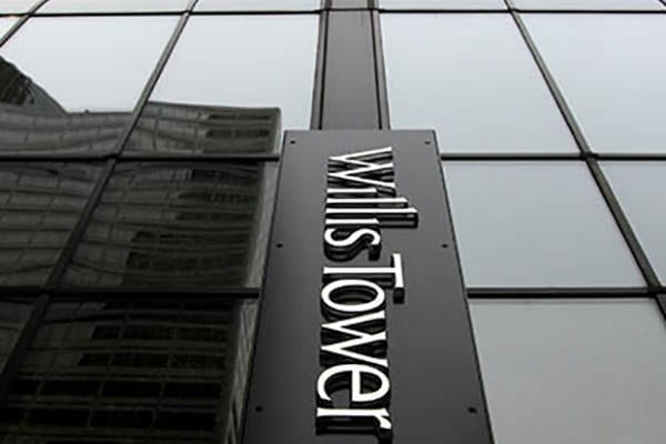 Exterior letters sign for Willis Tower in Chicago Illinois