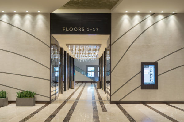 Interior directional signage for Marriott Marquis in Houston Texas