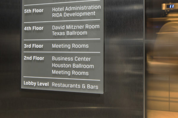 Interior elevator directory for Marriott Marquis in Houston Texas