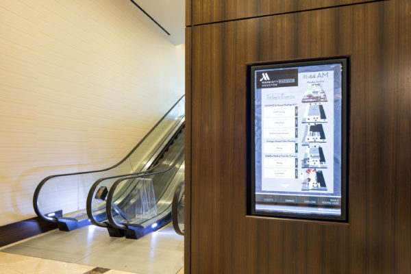 Interior digital directory signage for Marriott Marquis in Houston Texas