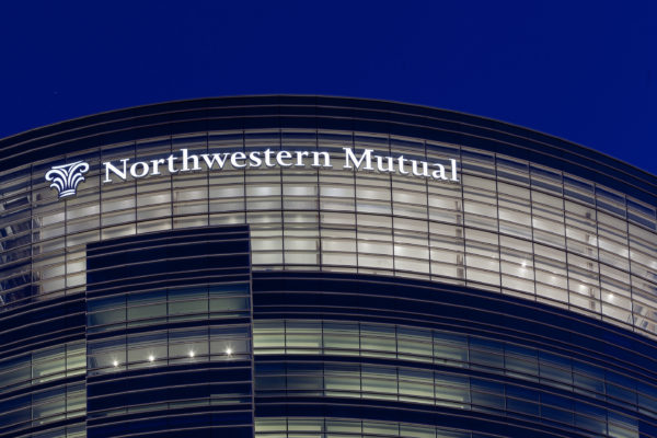 Exterior face lit channel letters for Northwestern Mutual in Milwaukee Wisconsin