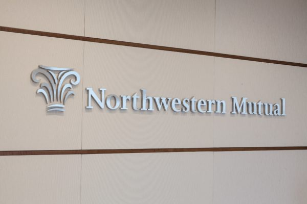 Interior letters and logo for Northwestern Mutual in Milwaukee Wisconsin