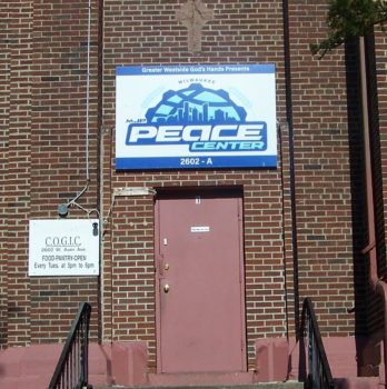 Exterior sign for MJP Peace Center