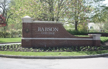 Exterior monument sign for Babson College in Wellesley, Massachusetts