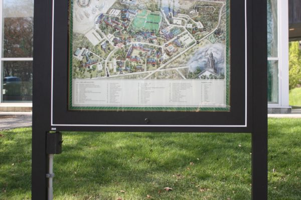 Exterior map sign for Babson College in Wellesley, Massachusetts