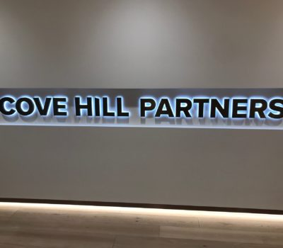 Interior back lit letters for Cove Hill Partners in Boston Massachusetts