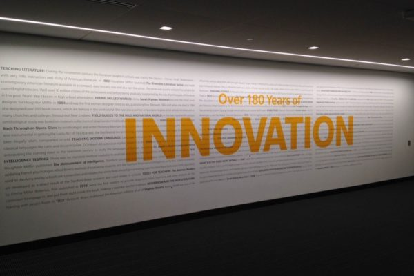 Large wall graphic for Houghton Mifflin Harcourt in Boston Massachusetts