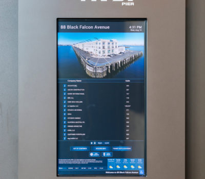 Interior digital directory signage for 88 Black Falcon in Boston Massachusetts