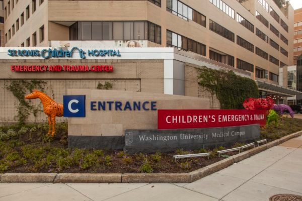 Exterior lit monument signage for BJC Healthcare in Saint Louis Missouri