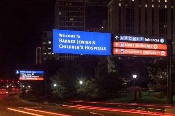 Exterior lit directional signage for BJC Healthcare in Saint Louis Missouri