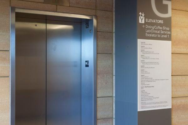 Interior directional sign at Nebraska Medicine Fred & Pamela Buffett Cancer Center