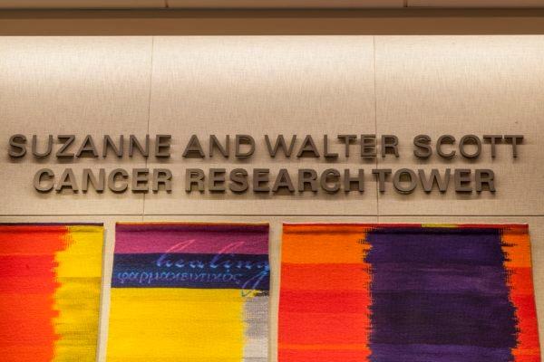 Interior dimensional letters sign at Nebraska Medicine Fred & Pamela Buffett Cancer Center