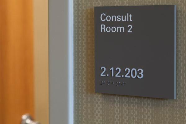 Interior sign at Nebraska Medicine Fred & Pamela Buffett Cancer Center