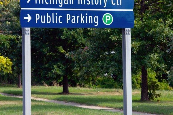 Wayfinding signage for Downtown Lansing Michigan