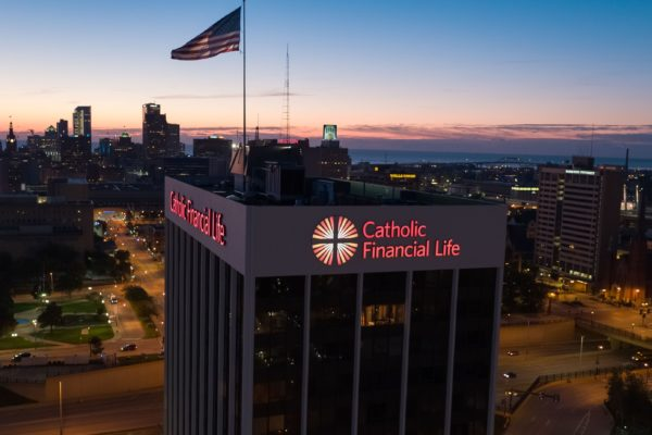 Exterior lit channel letters and logo for Catholic Financial Life in Milwaukee Wisconsin