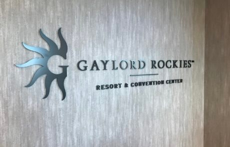 Interior lobby sign at Gaylord Rockies Resort in Aurora Colorado