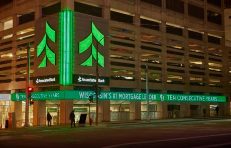 Digital exterior sign for Associated Bank in downtown Milwaukee Wisconsin