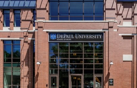 DePaul University School of Music exterior lit sign in Chicago Illinois