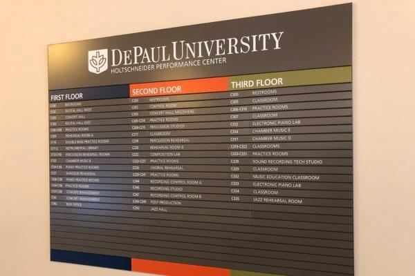 DePaul University Performance Center sign