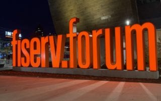 Fiserv Forum lit monument