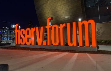 Fiserv Forum lit monument